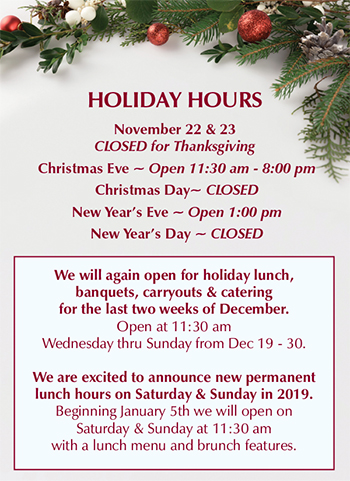 Holiday Hours at Gale Street Inn
