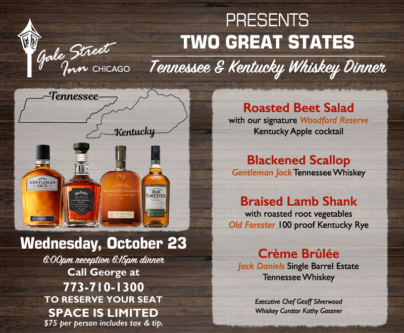 Two Great States Whiskey Dinner Details
